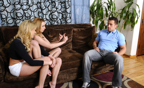 American Lexi Belle fucking in the couch with her petite - Sex Position #1