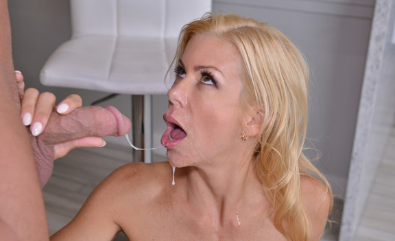 Cougar Alexis Fawx fucking in the kitchen with her lingerie - Sex Position #1