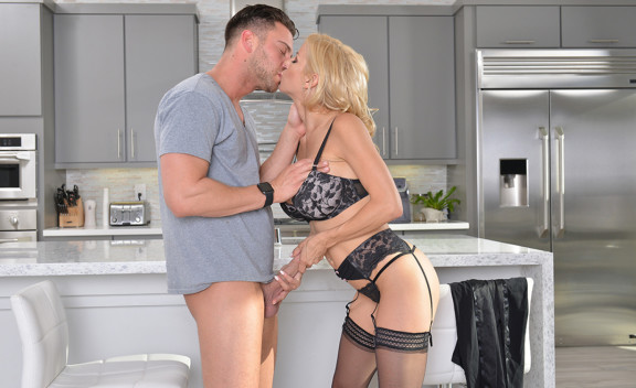 Cougar Alexis Fawx fucking in the kitchen with her lingerie - Sex Position #9