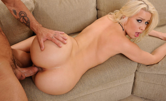 Anikka Albrite fucking in the couch with her natural tits - Sex Position #3