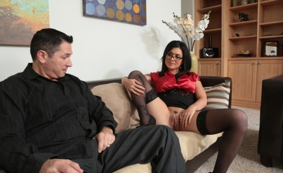 Eva Angelina fucking in the couch with her glasses - Sex Position #1