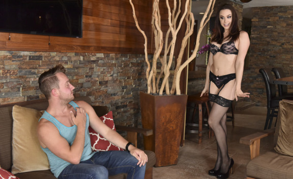 Chanel Preston fucking in the living room with her lingerie - Sex Position #1