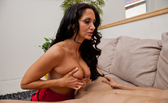 Ava Addams fucking in the couch with her big natural tits - Sex Position #6