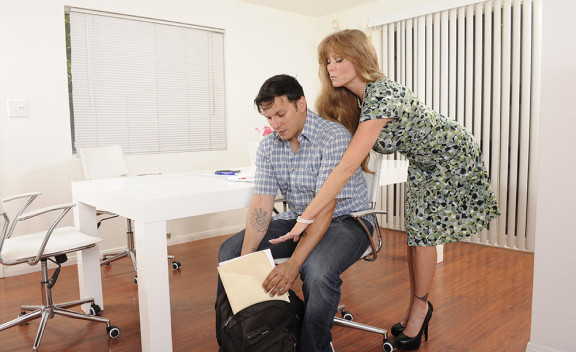 Mature Darla Crane fucking in the office with her tattoos - Sex Position #3