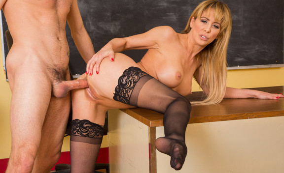 Cherie DeVille fucking in the desk with her big tits - Sex Position #3