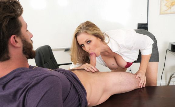 Mature professor Julia Ann fucking in the desk with her tits - Sex Position #12