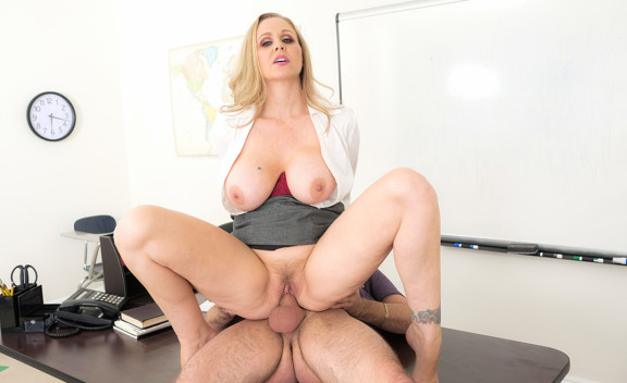 Mature professor Julia Ann fucking in the desk with her tits - Sex Position #4