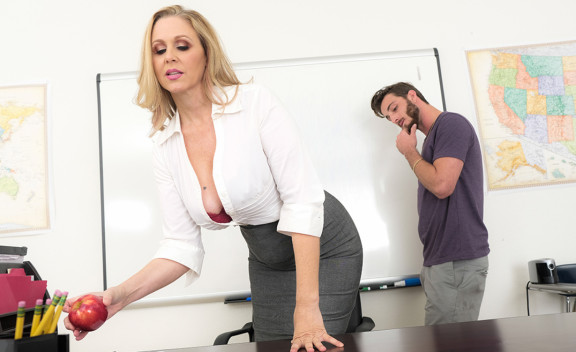 Mature professor Julia Ann fucking in the desk with her tits - Sex Position #1