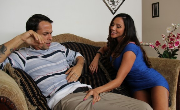 Ariella Ferrera fucking in the living room with her tits - Sex Position #1