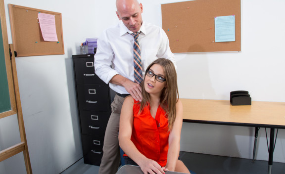 Ashlynn Leigh fucking in the classroom with her glasses - Sex Position #1