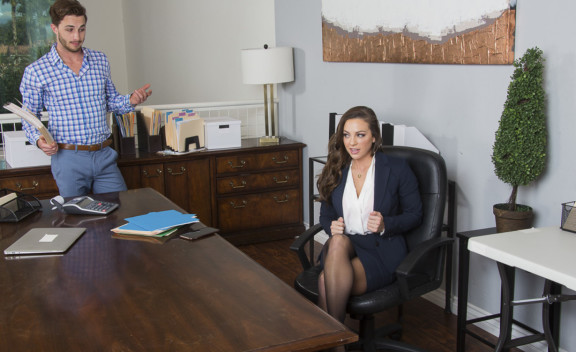 Abigail Mac fucking in the office with her outie pussy - Sex Position #1