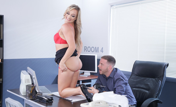 MILF Tucker Stevens fucking in the office with her blue eyes - Sex Position #1