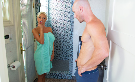 Nikita Von James fucking in the bathroom with her petite - Sex Position #2